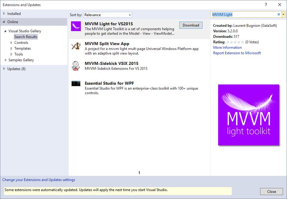 MVVM Light Toolkit - Visual Studio bővítmény